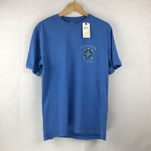 NWT IZOD Blue Round Neck Graphic Tee Shirt size S